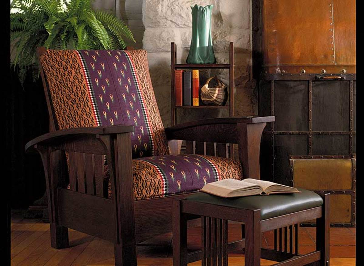 an original gustav stickley morris chair in fumed oak at craftsman farms home in