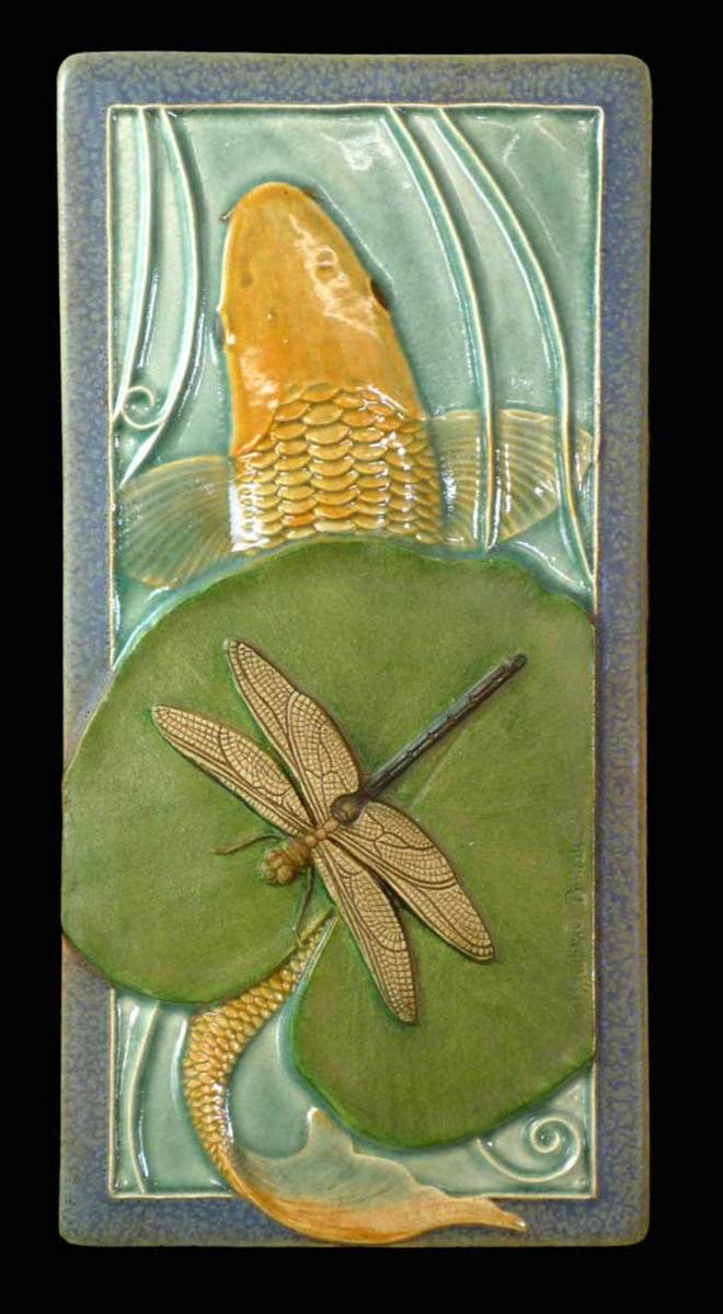 Sculpted 'Koi & Dragonfly' tile, Medicine Bluff Studio