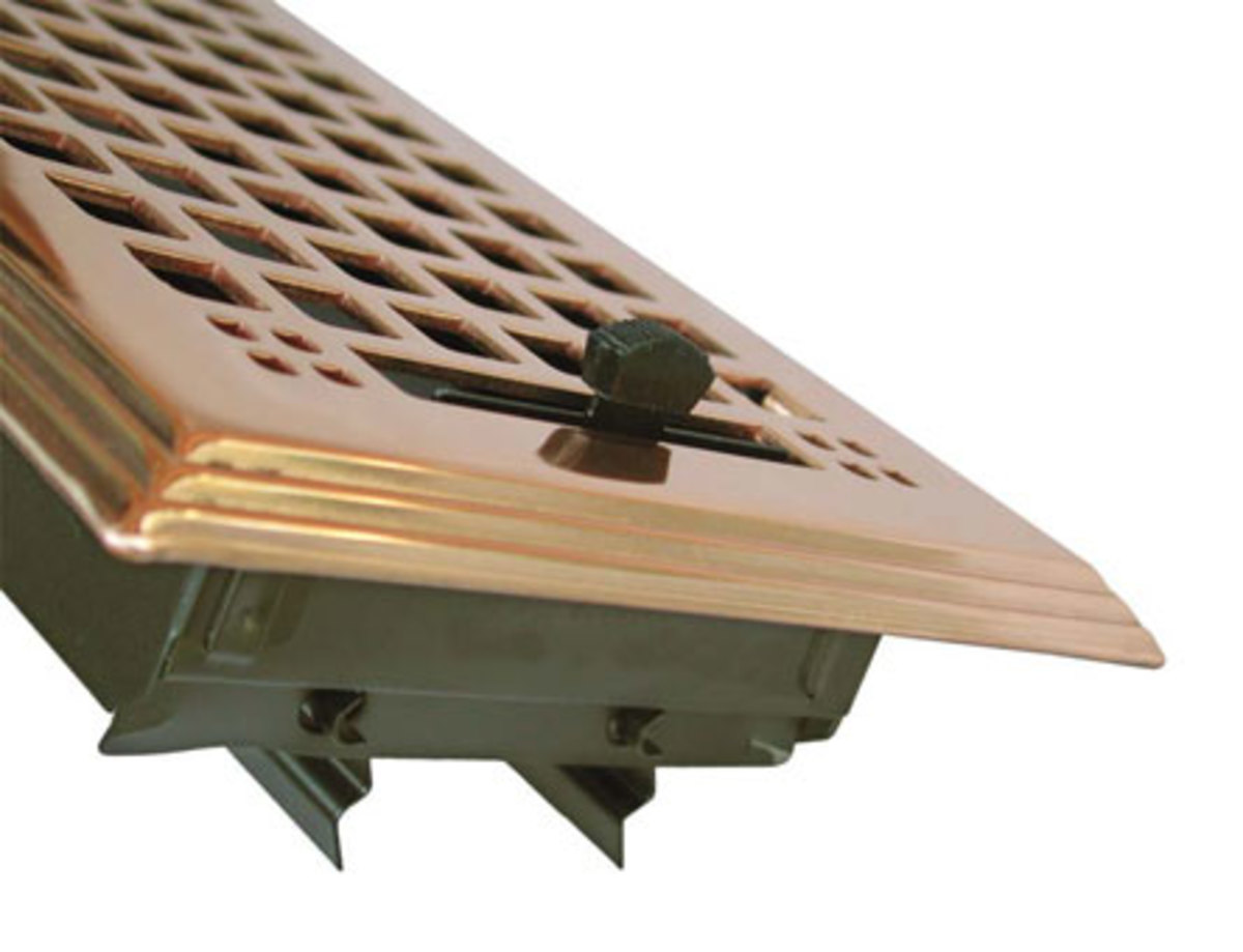 A handsome brass forced-air grille from HeatRegisters.com.