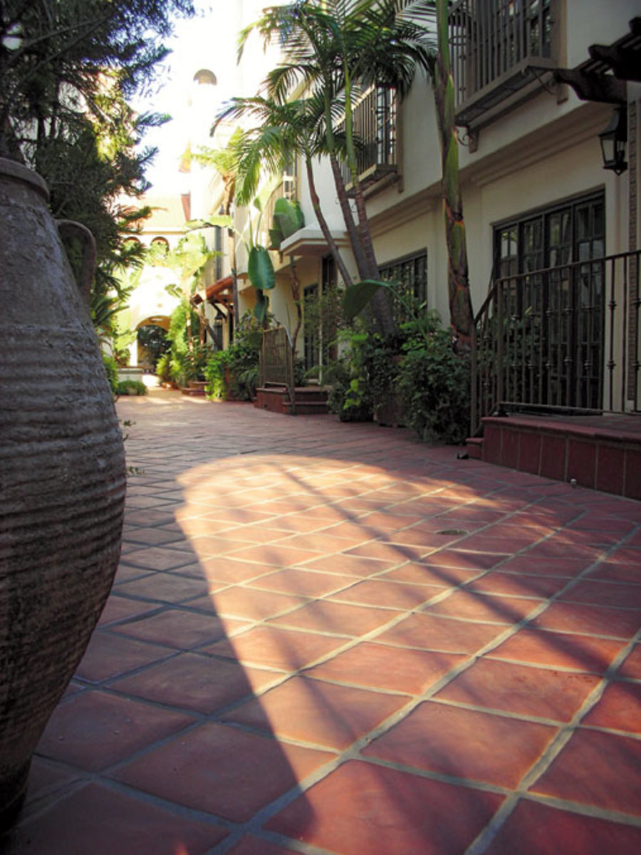 Square terra-cotta pavers from Classic Terra Cotta