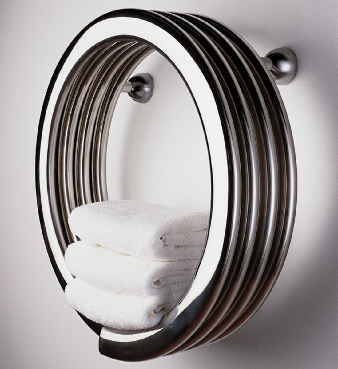 The Hot Hoop from Runtal is actually a radiator that heats the bathroom.