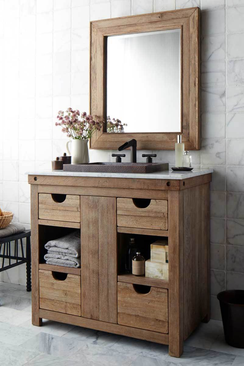 The Chardonnay vanity from the Vintner's collection is made from reclaimed oak wine barrels from California wineries.