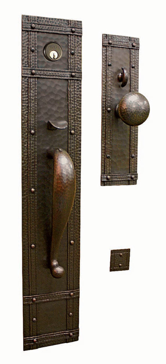 Hand-hammered copper entry set 'Santa Rosa' from Craftsmen Hardware.