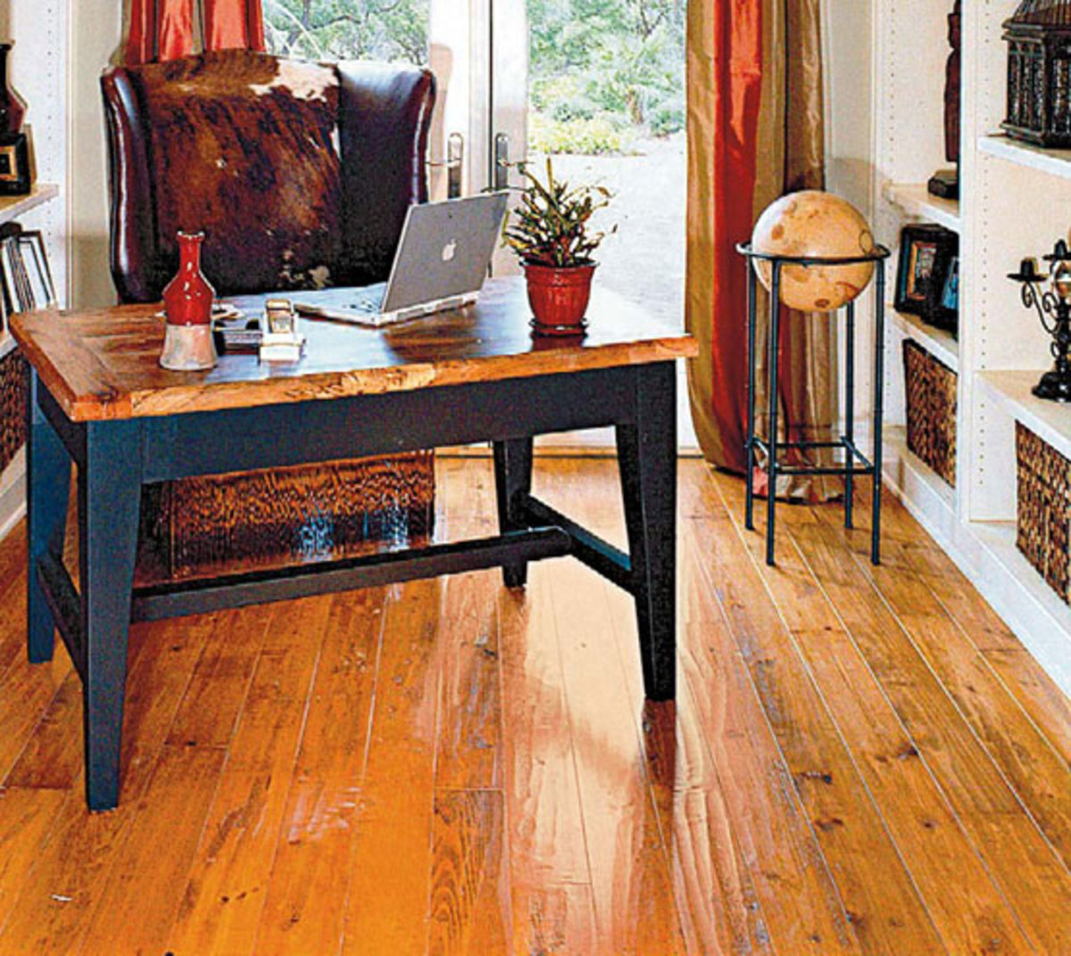 An antique heart-pine floor from Authentic Pine Floors.