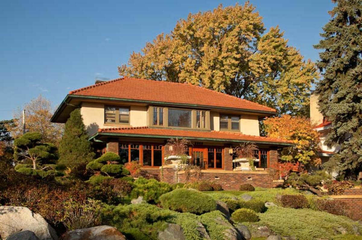 Japanese gardens surround the 1915 house, which sits near a hilltop overlooking Lake of the Isles.