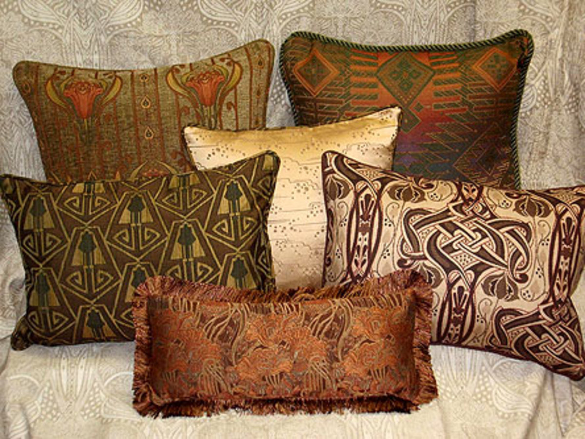 Upholstery fabrics like period-inspired reproductions from Archive Edition are good choices for pillows.
