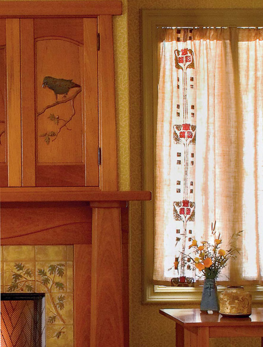 Period design embellishes panels shirred on a pocket rod curtains