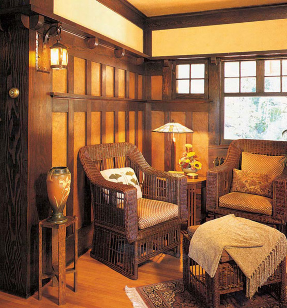 Wood wainscot revival arts crafts homes and the for Arts and crafts style