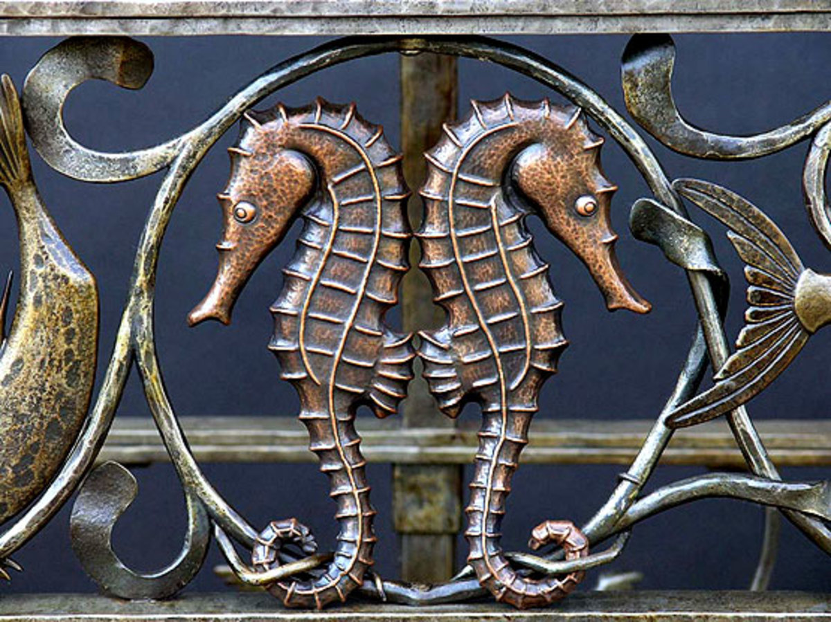 Copper repousse Sea Horses is a detail from a console table. Photo by Edward Addeo.
