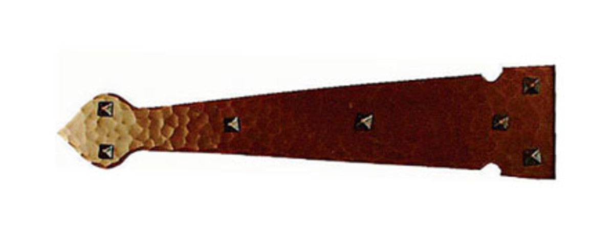 Spade-head copper strap-hinge tail 'B' from Craftsmen Hardware.