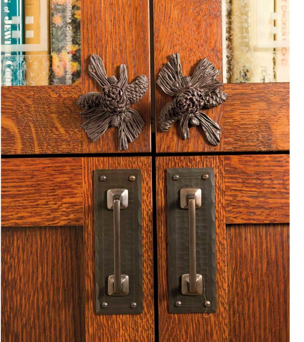 Pinecone pulls from Craftsmen Hardware in a revival kitchen.