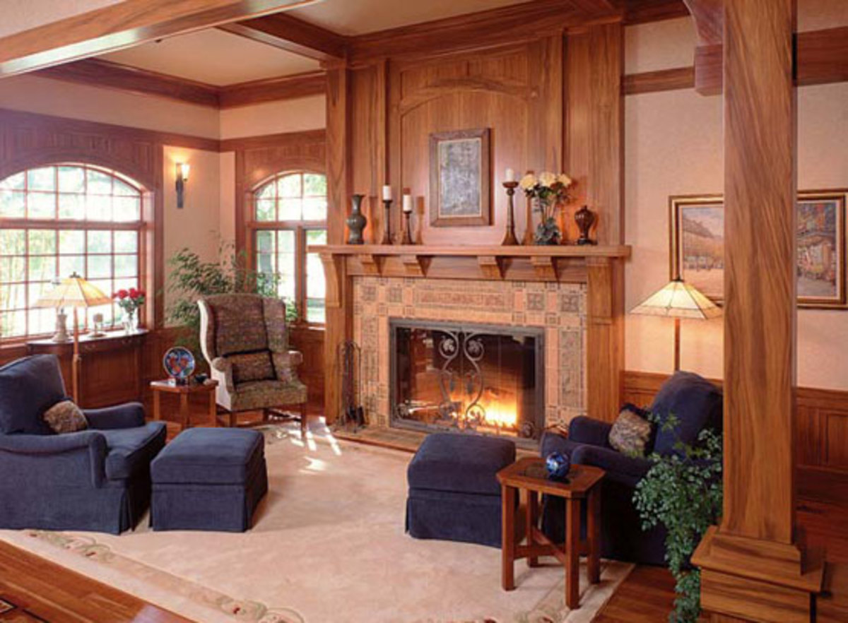 Curved corbels and mantel are made of American gumwood.