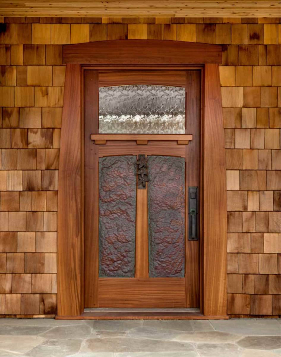 hammered copper panel door, fine woodworking