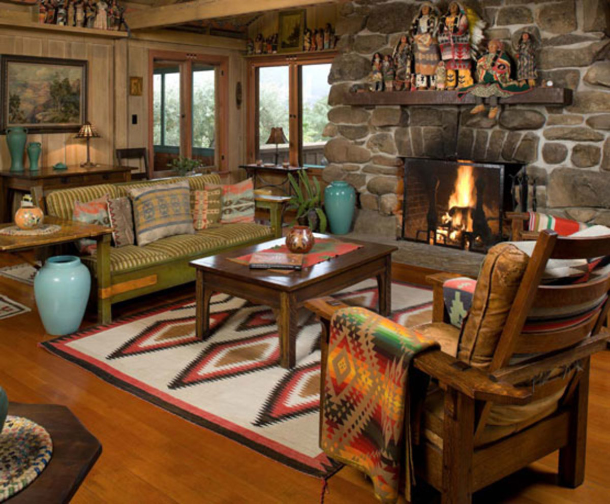 Vintage Navajo and Southwestern textiles, including rugs, add immeasurably to the interior of a 1908 house in Ojai, Calif. Photo by William Wright.