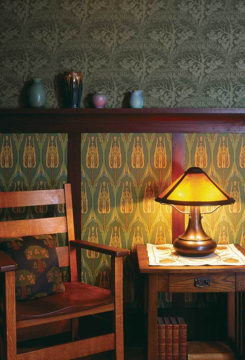 Thistle' wallpaper  from Bradbury & Bradbury fills wainscot panels.
