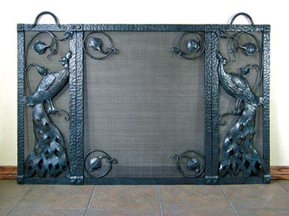 Bushere Iron work, forges iron firescreen, Arts & Crafts metalwork