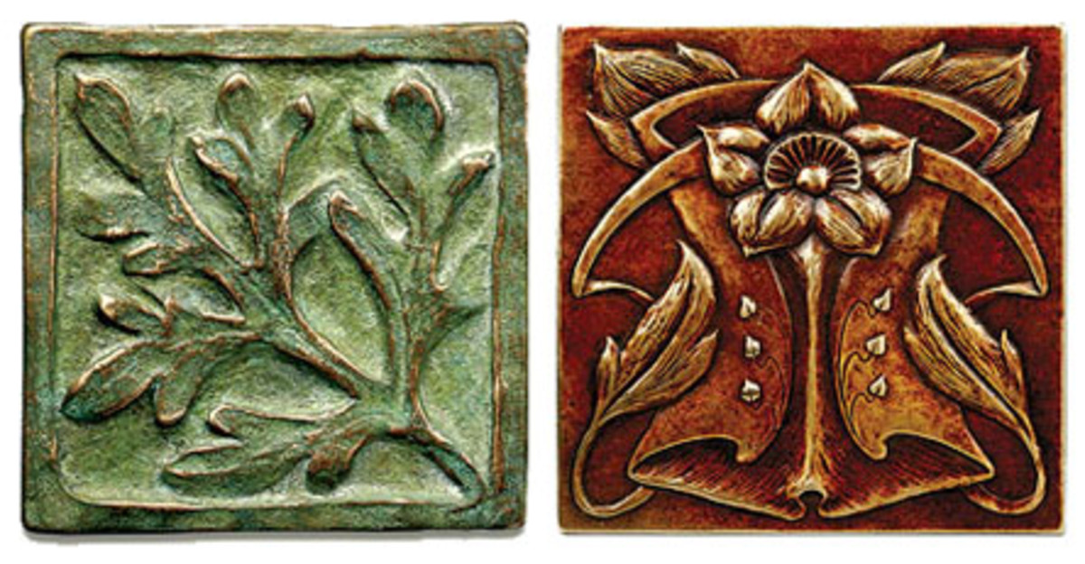 Metaphor Bronze metal tiles, Arts & Crafts tile, cast metal tile