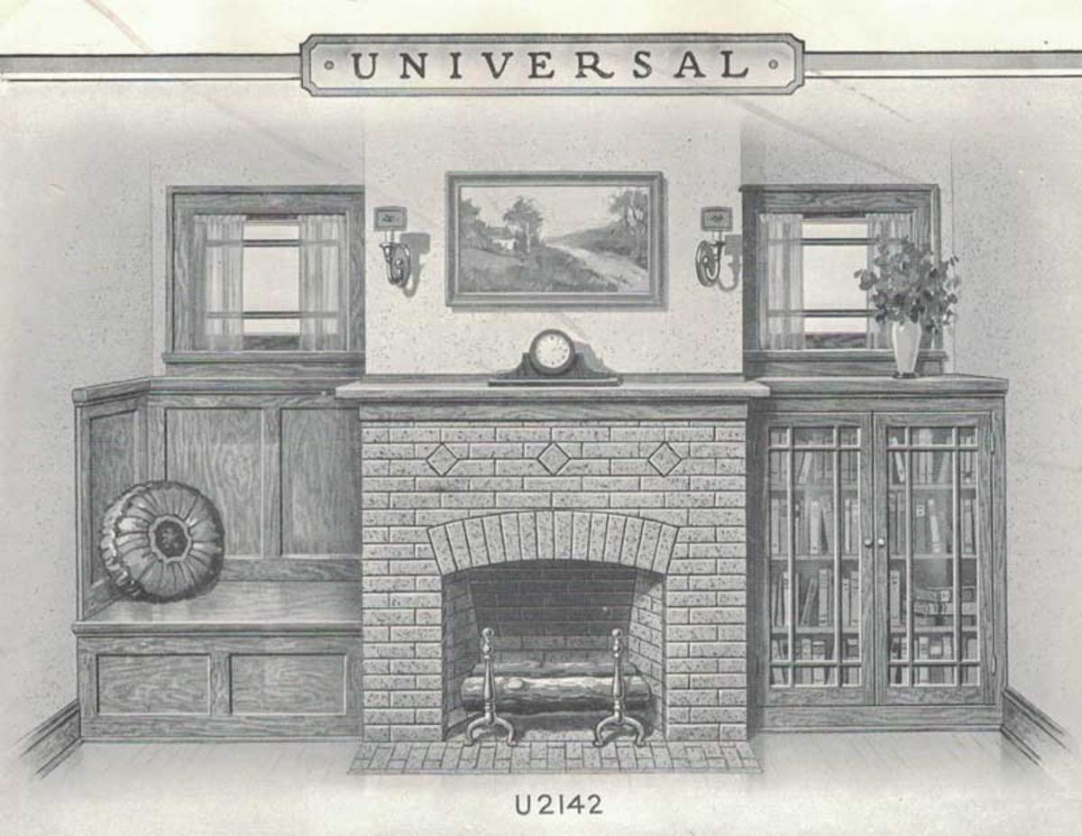 A variation from the Universal Design Book, 1927) includes an arch over the firebox, and patterns formed by bricks on the diagonal or by adding accent brick or tile.