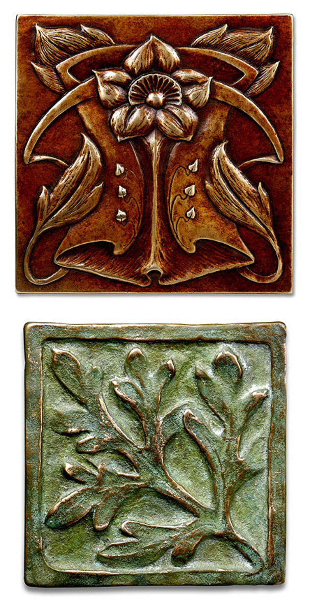 The Artemesia and Aubrey tiles in patinated bronze are from Metaphor Bronze Tileworks