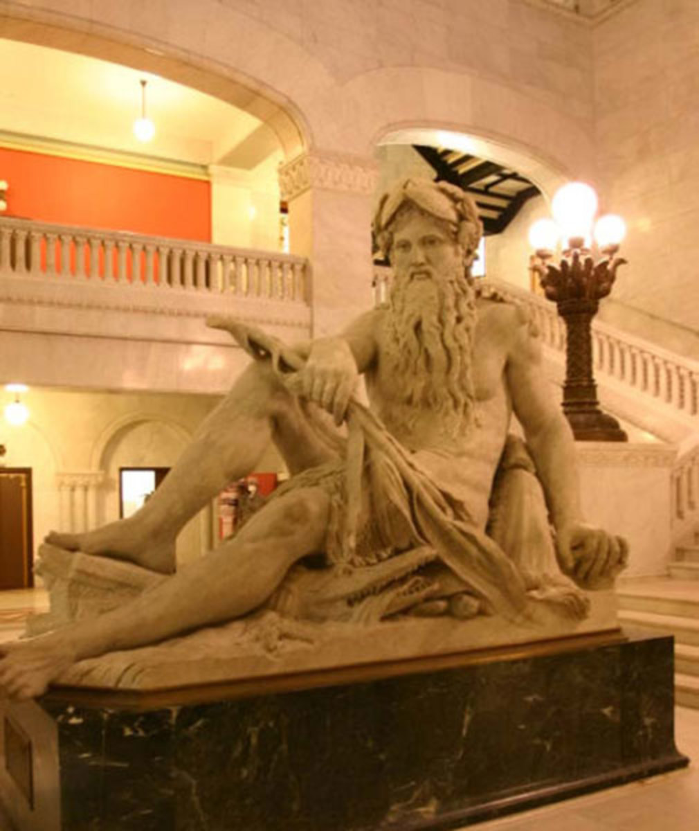 "Landmarks include ""Father of the Waters"" at Minneapolis City Hall."