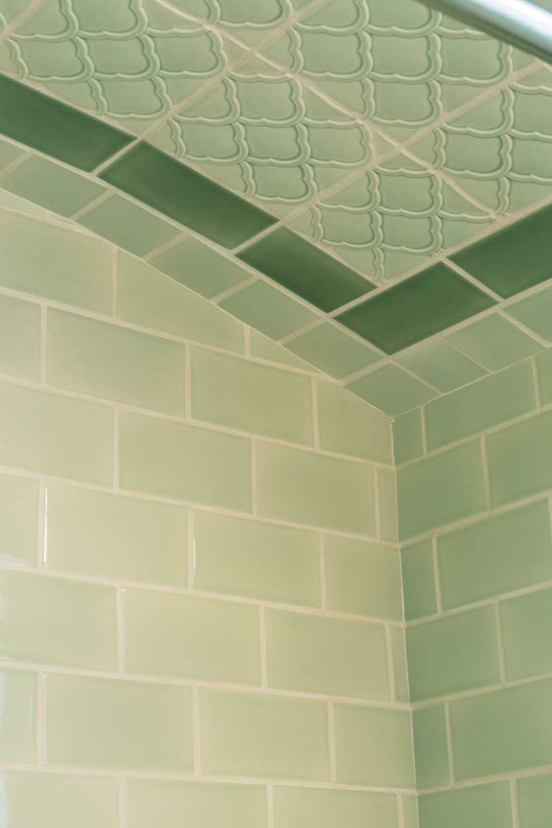 Minty subway tile