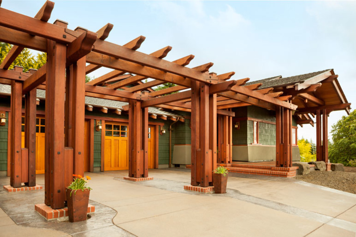 series of redwood trellises