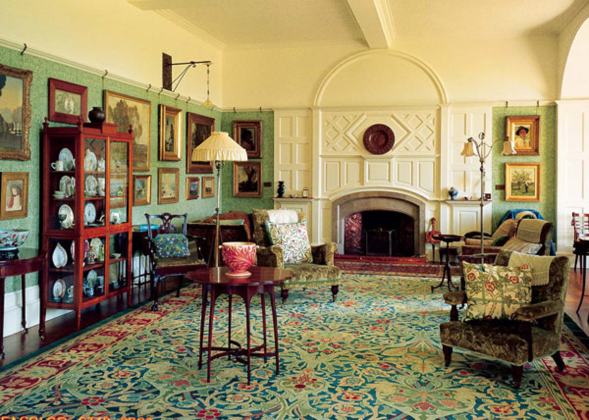 furniture and the carpet designed by William Morris