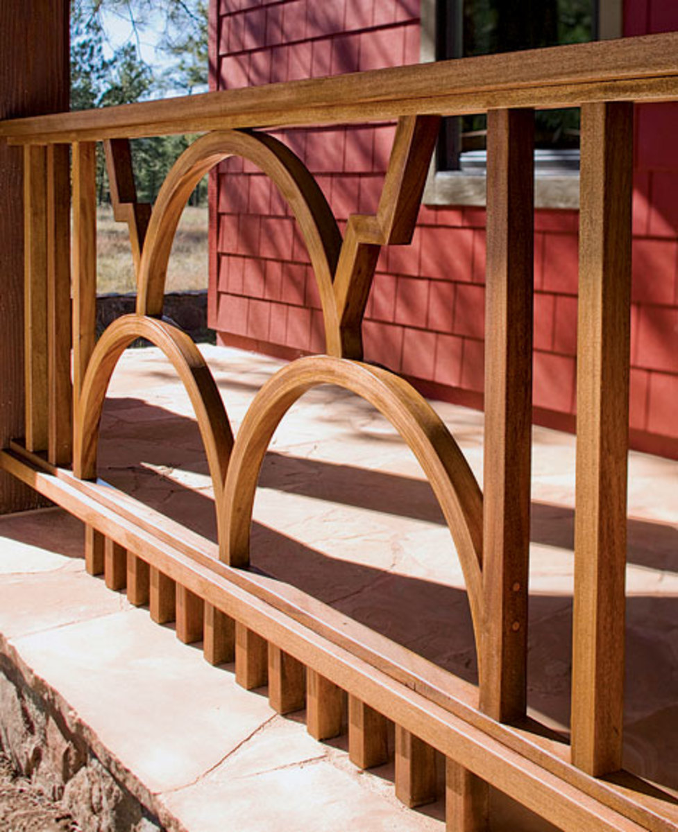 The porch railing is informed by the indigenous people, incorporating Hopi symbols for thunder, lightning, and rain.