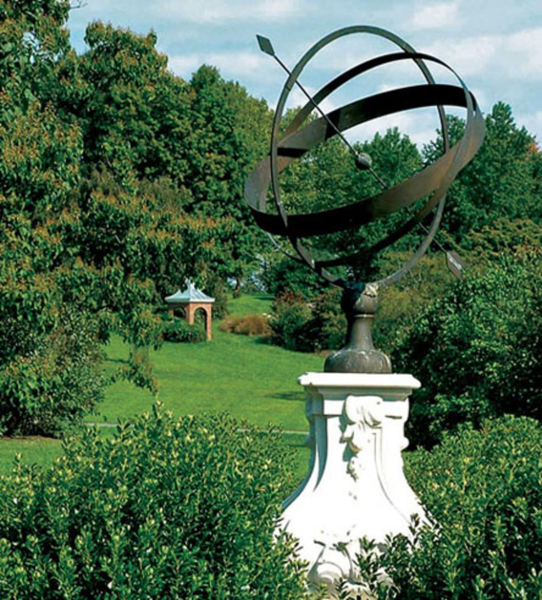 Heritage Metalworks armillary, Winterthur garden, metal work