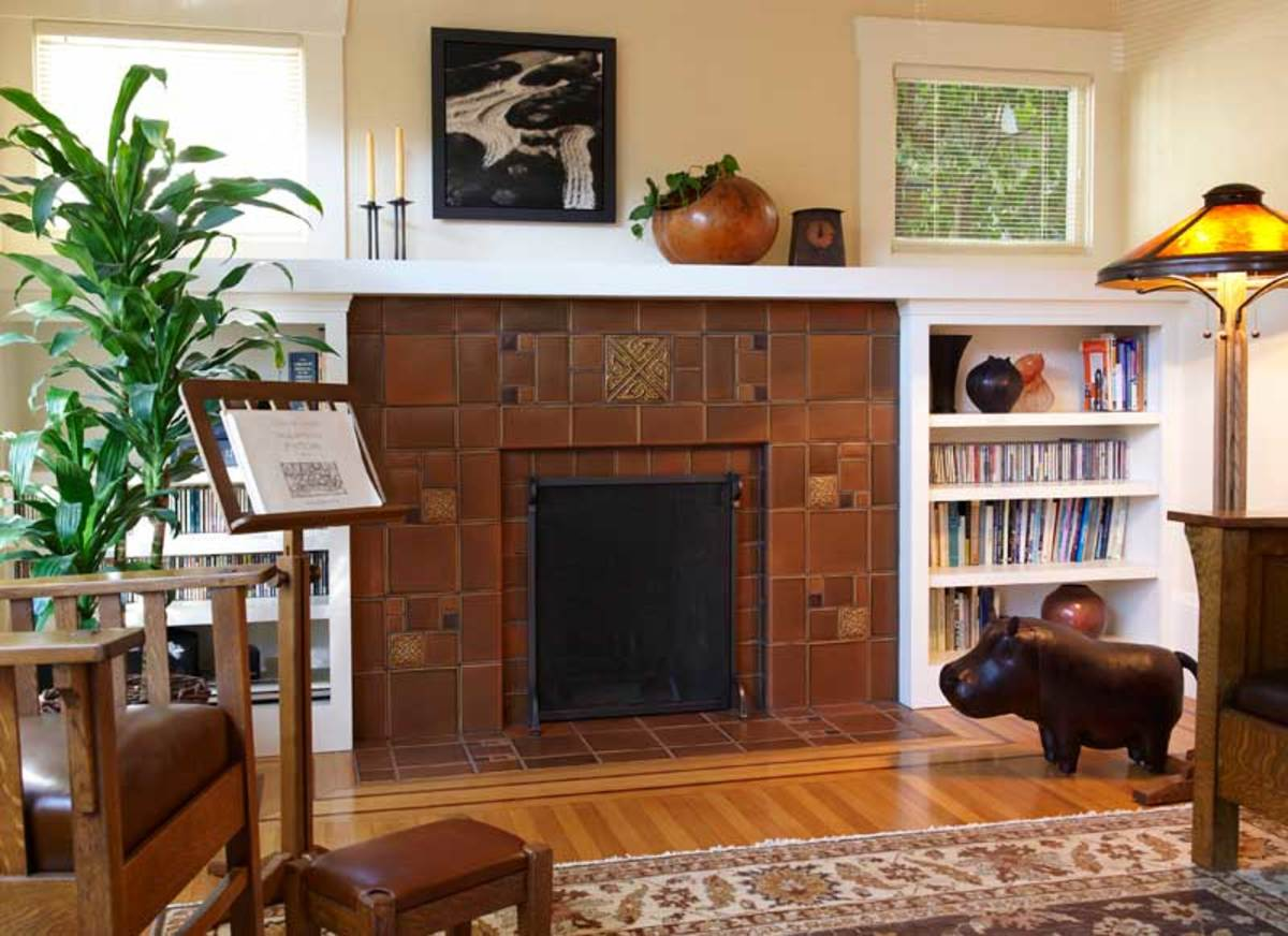 Arts crafts craftsman frank lloyd wright on pinterest for Craftsman fireplace pictures
