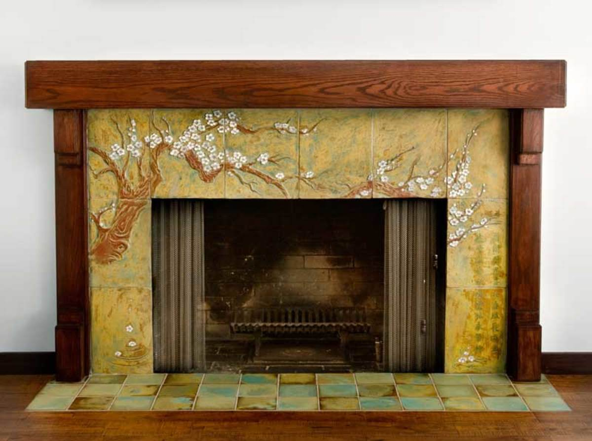 hand-cast tile fireplace by Cha-Rie Tang