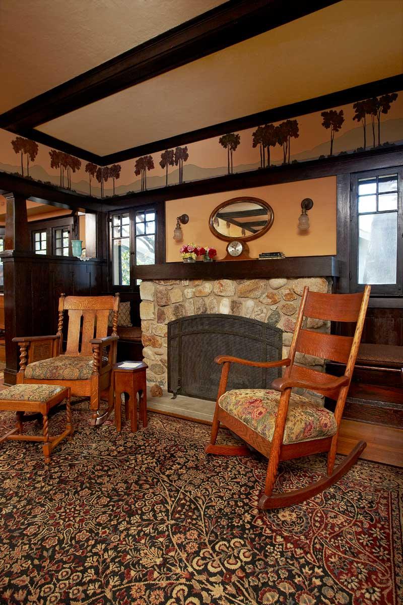 stone fireplace, 1909 Wilson Plan bungalow