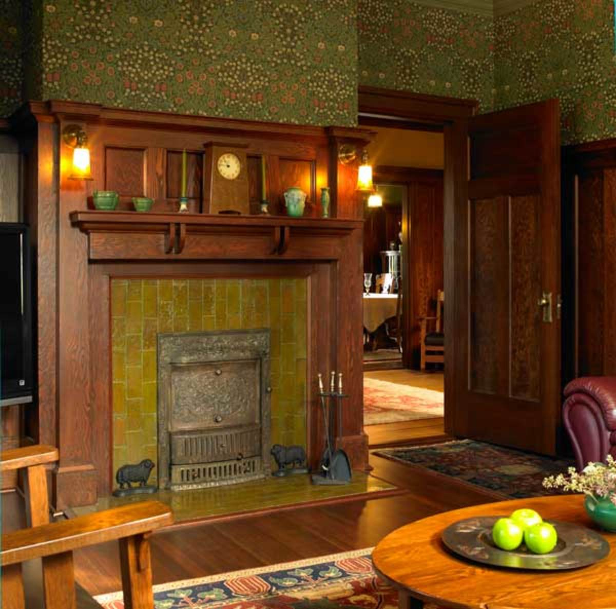 The den, like the dining room, has fireplace tile laid vertically, a feature of architect Maclure's houses.