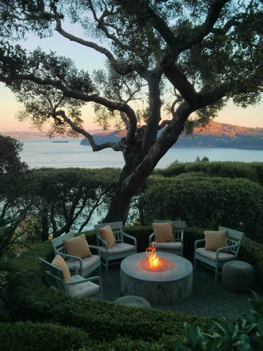 fire pit on a terrace, open-air retreat