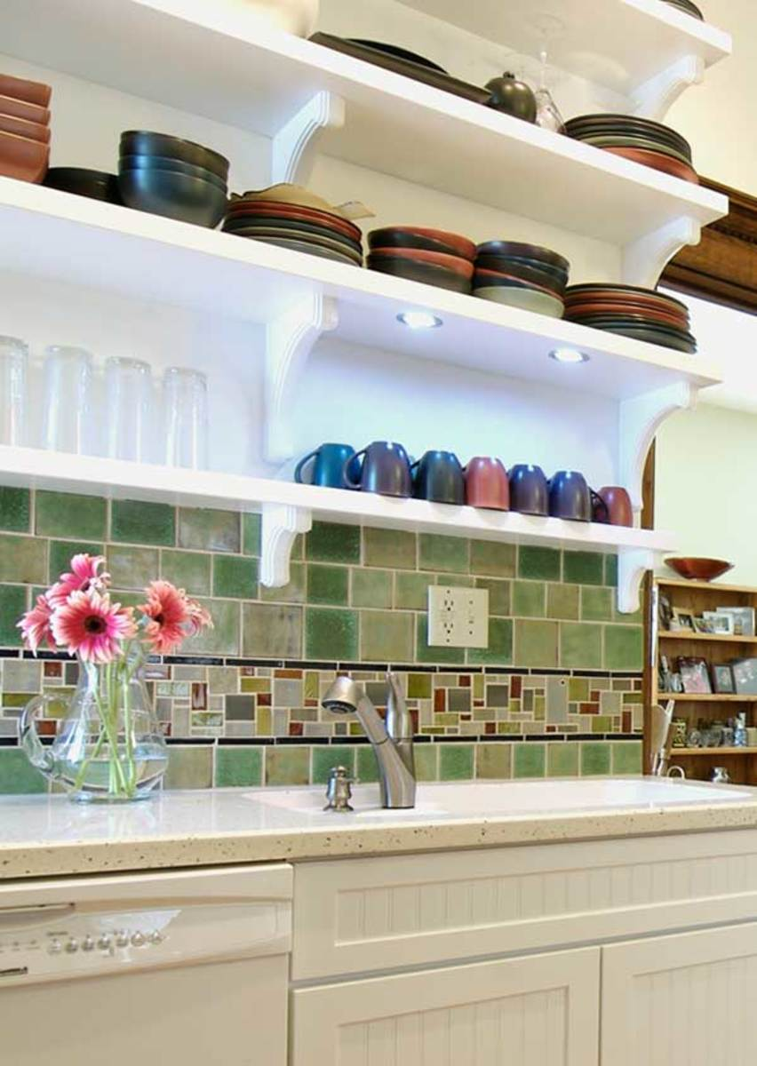Green tiles by Mercury Mosaics make a backsplash with unique character.