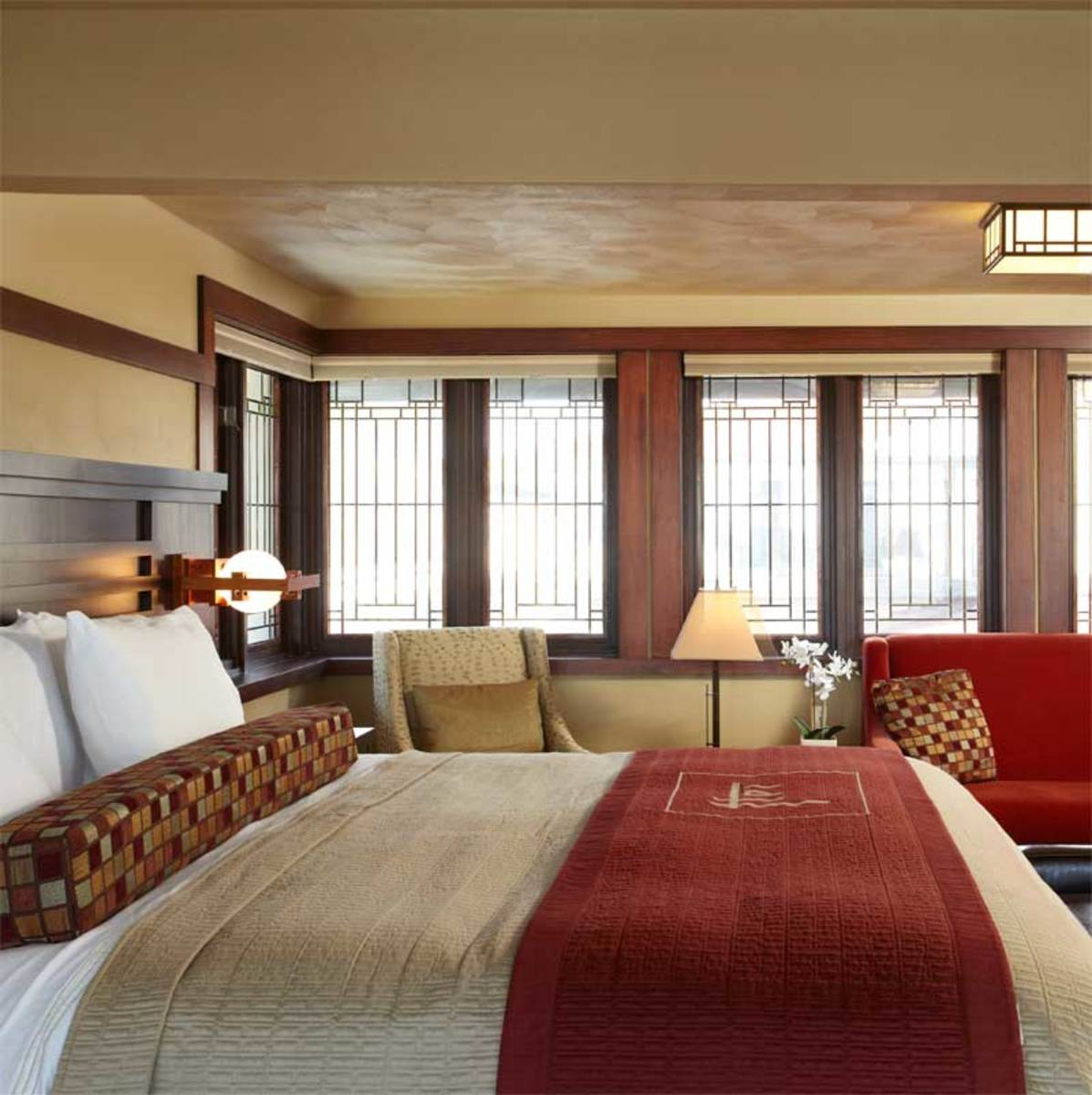 A guest room at the Historic Park Inn hotel.