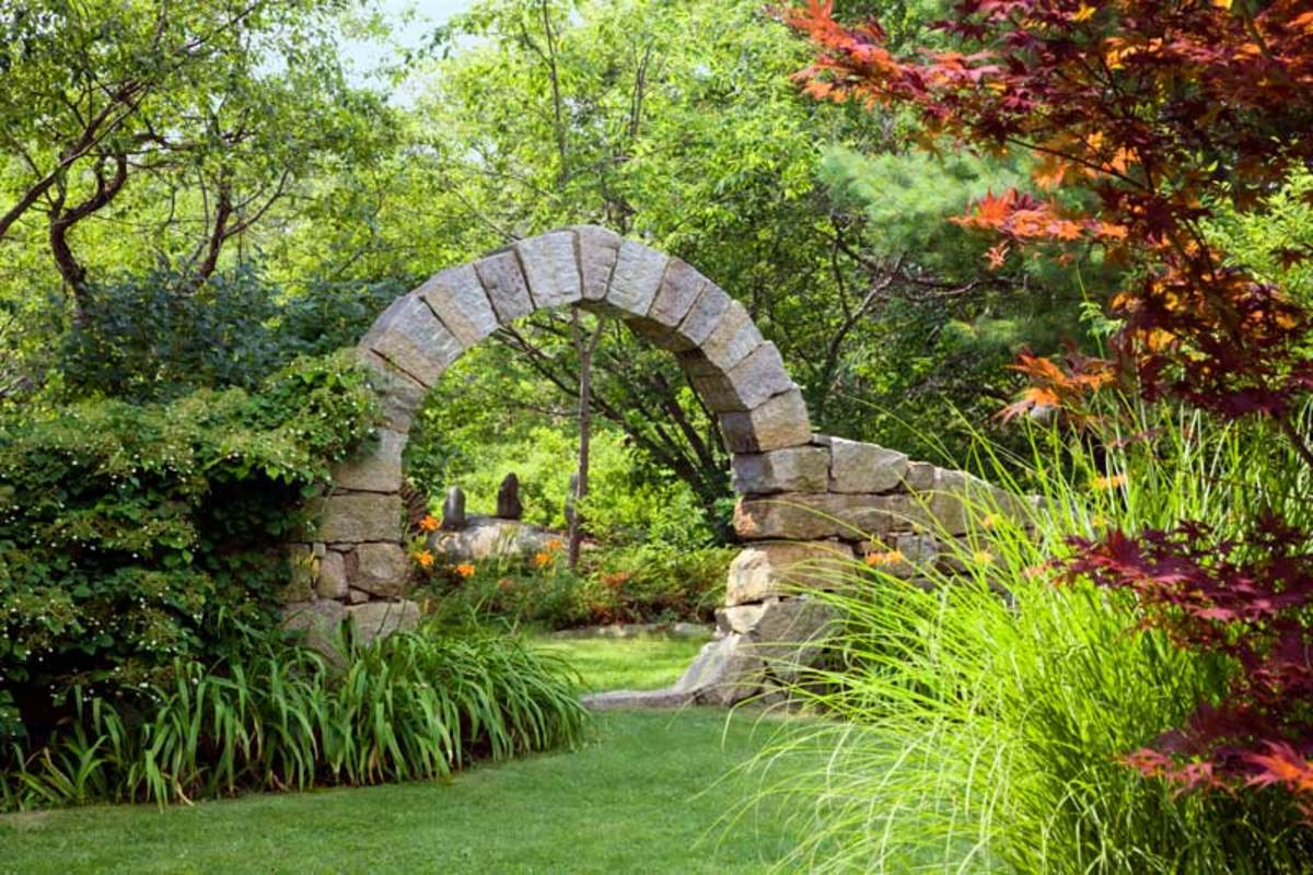The large moon gate, built of unmortared granite blocks, was an early project. It's been here since 1996.