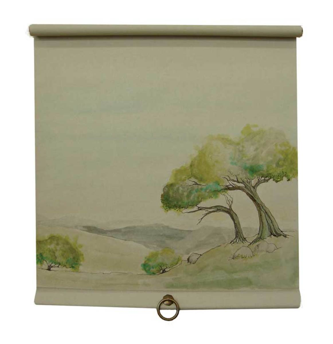 The shade tree design on this roller shade is painted freehand.