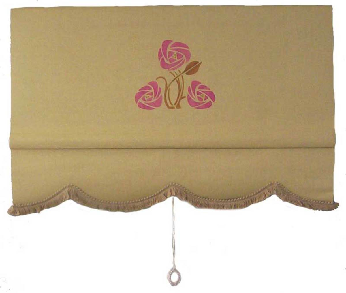 Roller shade offered by Ann Wallace, with rose pattern.