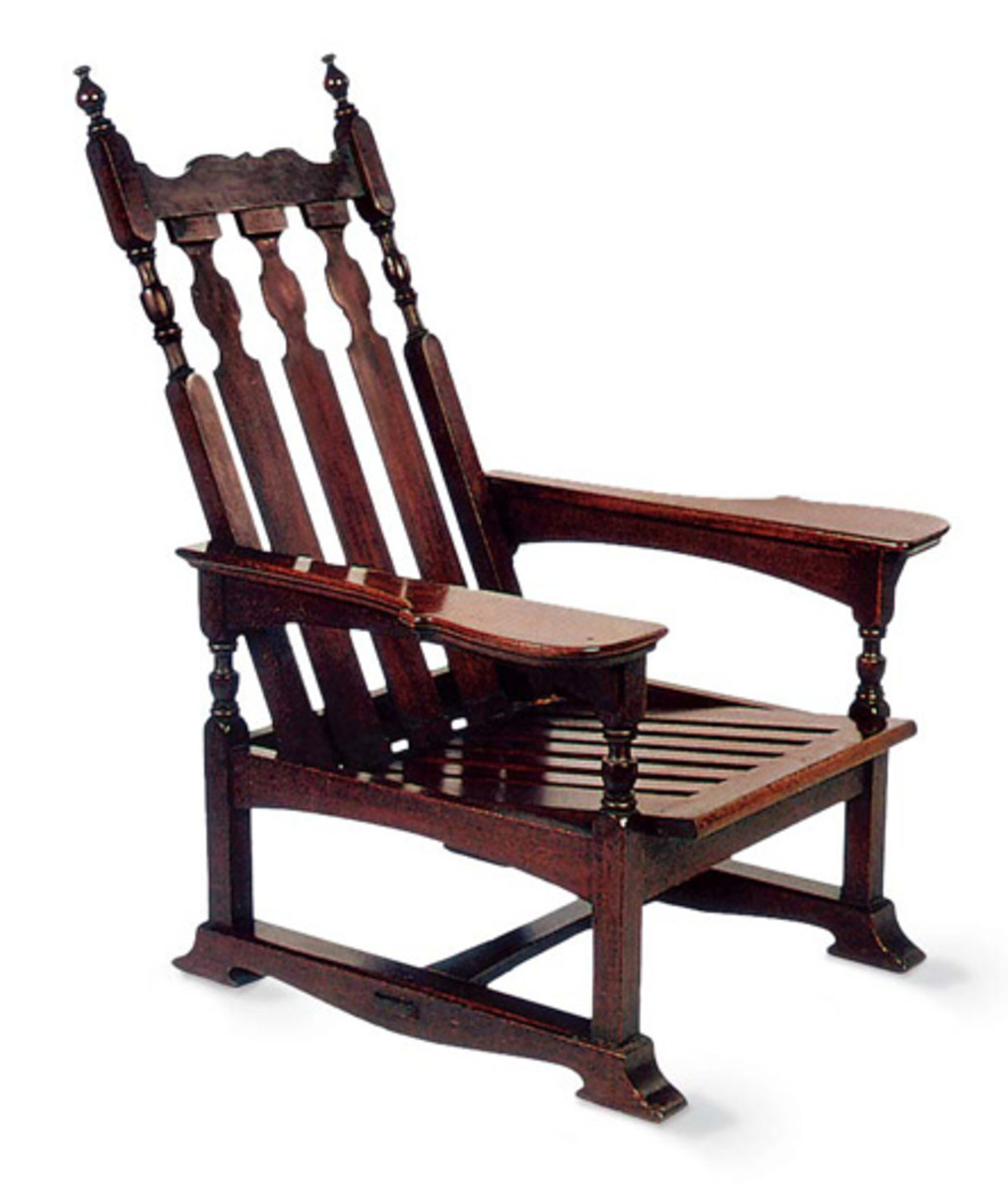 hand-crafted Gothic-inspired Morris Chair by American William Price