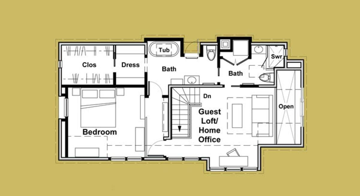 The plan shows how the baths create a versatile Jack-and-Jill arrangement.