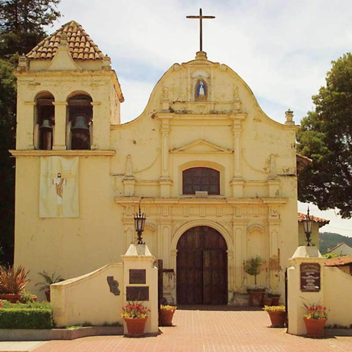 On the Pacific coastline near Monterey; the Spanish Colonial Carmel Mission Basilica.
