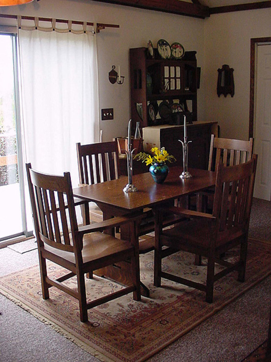 The dining room table was found in a root cellar.
