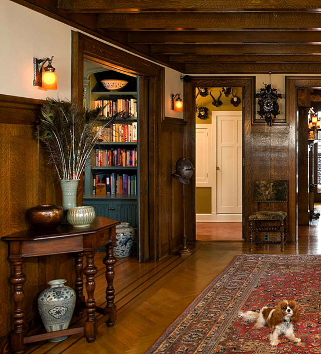 Defining a house: Original lighting with a late-medieval, Tudor Gothic look is perfectly matched to this 1908 Arts & Crafts Tudor.
