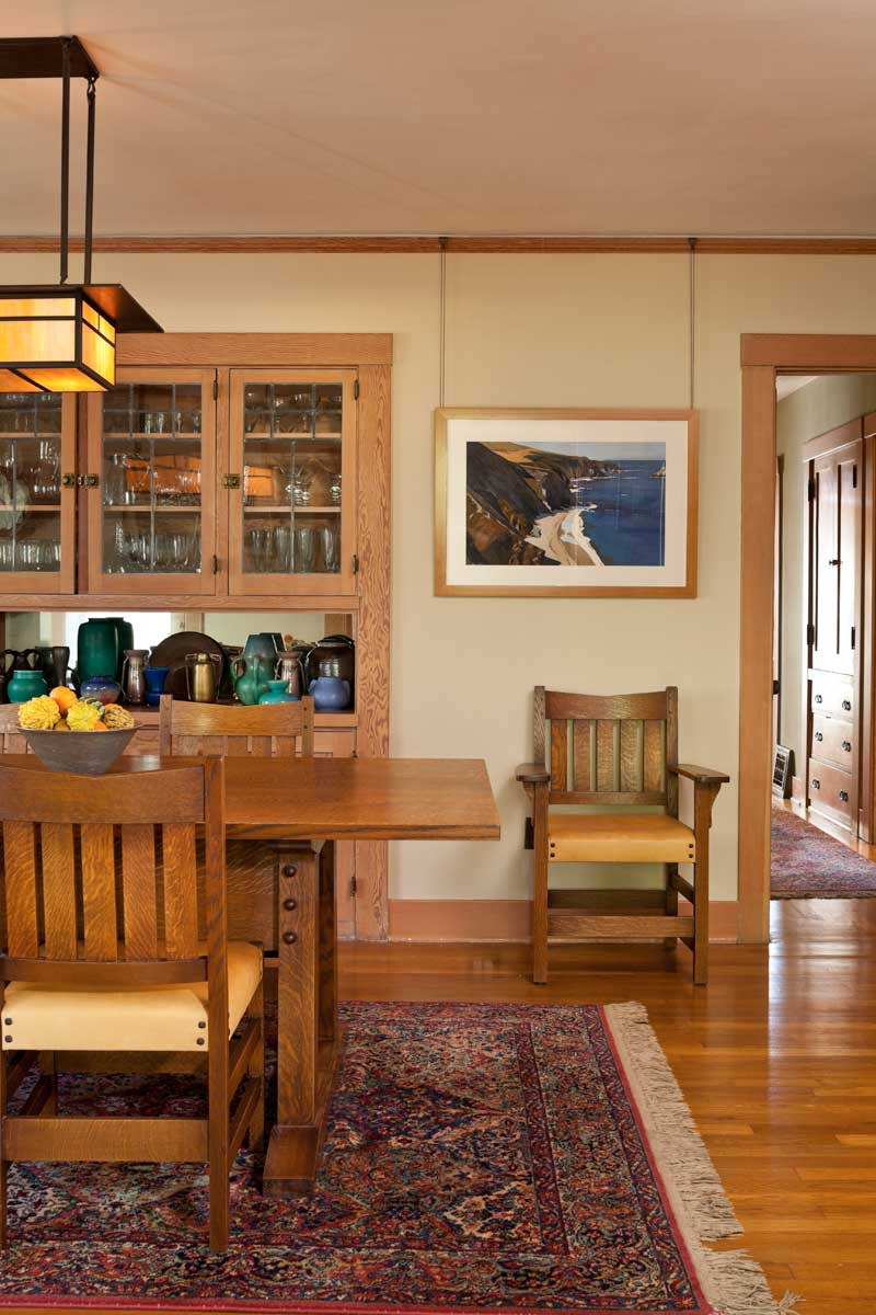 Stickley-design oak table, Santa Barbara bungalow