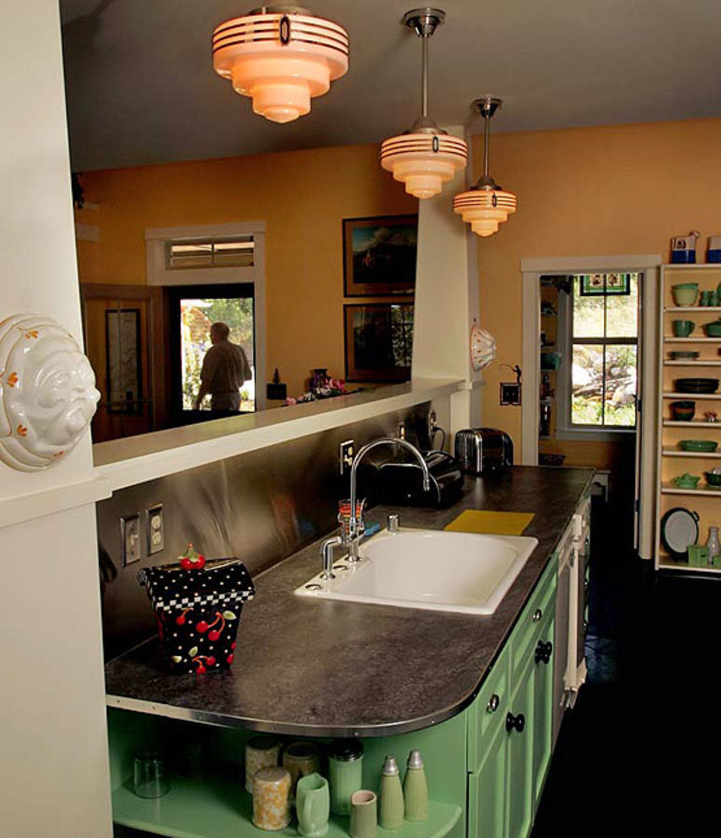Defining an era: Jazzy ceiling lights capture the mood in a kitchen designed after a Depression-era diner.