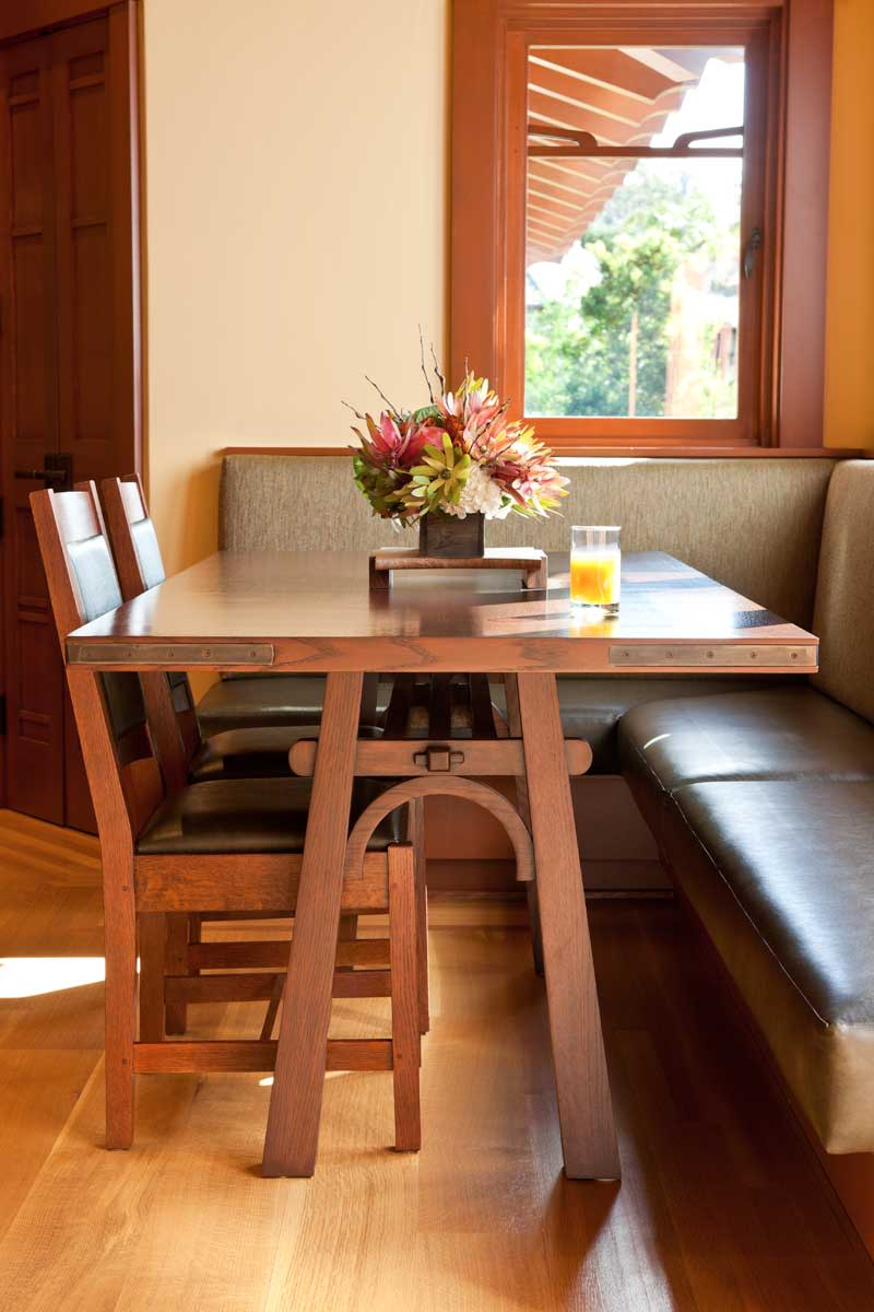 built-in banquette, custom-built table
