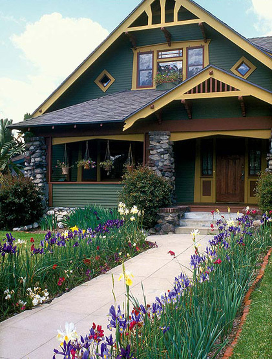 Colorful Craftsman Homes flowers front yard
