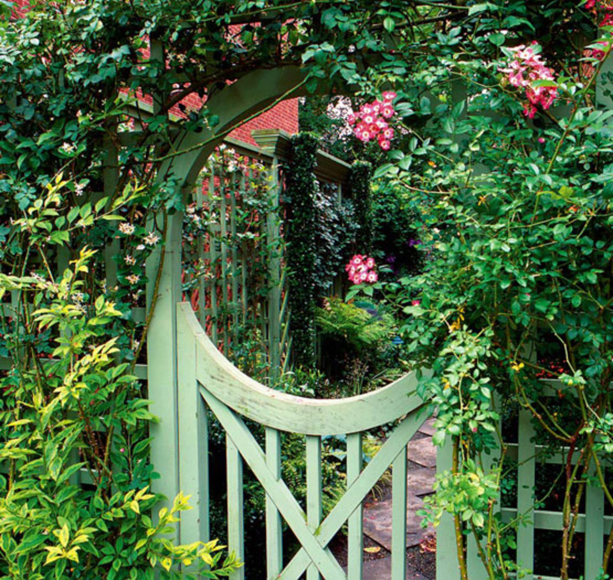 moon gate, Arts & Crafts landscape design