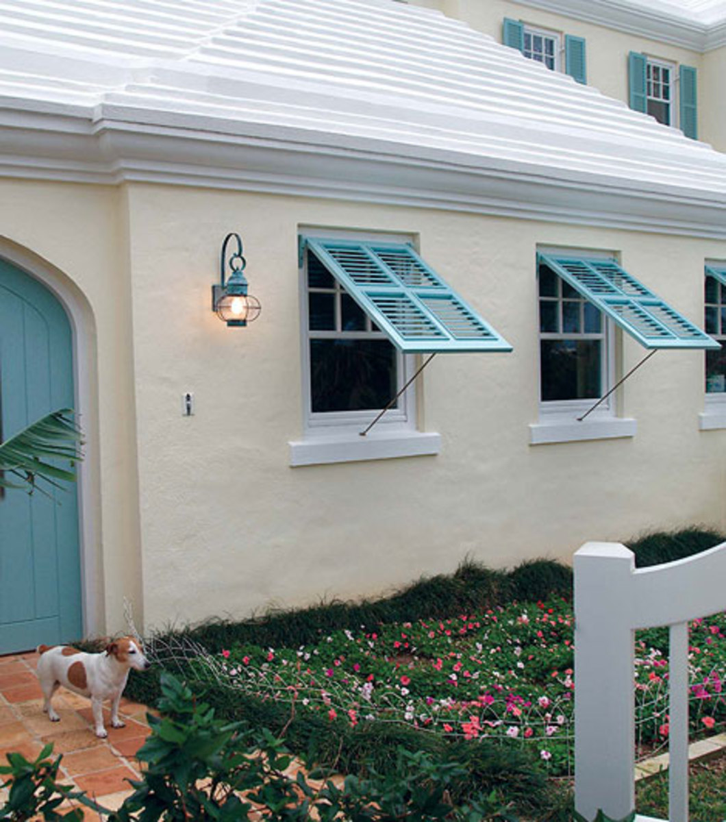 "Making a comeback in warm locales, Bermuda shutters open like an awning window. These are from Custom Shutter's ""Bahama"" line: www.customshuttercompany.com"